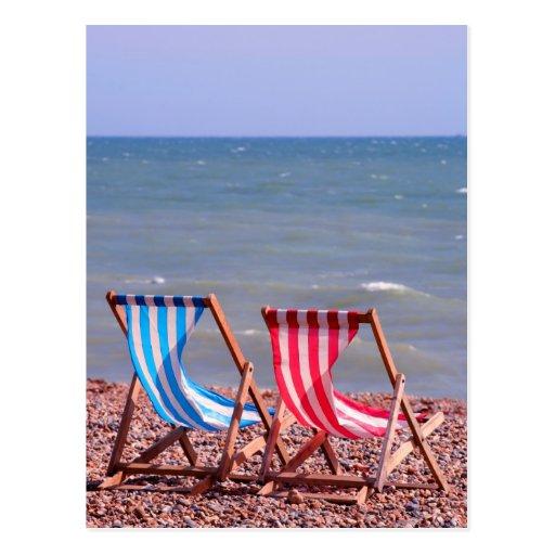 Deux chaises longues sur la plage carte postale zazzle for Chaises longues de plage