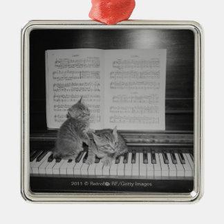 Deux chatons se reposant sur le clavier de piano ornement carré argenté
