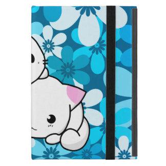 Deux chatons sur l'arrière - plan bleu coques iPad mini