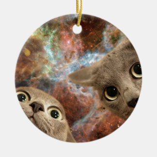 Deux chats gris dans l'espace avant une nébuleuse ornement rond en céramique