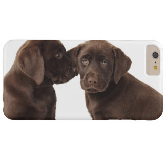 Deux chiots de labrador retriever de chocolat coque iPhone 6 plus barely there