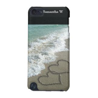 Deux coeurs de sable sur la plage, océan coque iPod touch 5G