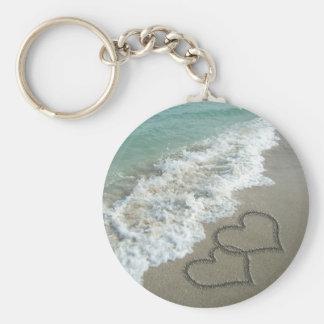 Deux coeurs de sable sur la plage, océan romantiqu porte-clé