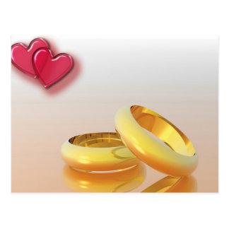 Deux coeurs deux anneaux carte postale