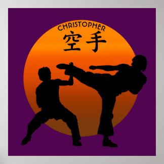 Deux combattants de karaté avec Soleil Levant Posters