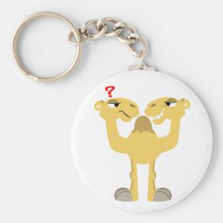 Deux côtés du même porte - clé de chameau de bande porte-clé rond