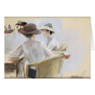 Deux dames par l'eau carte de vœux