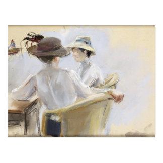 Deux dames par l'eau carte postale