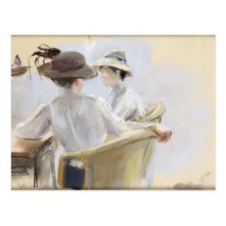 Deux dames par l'eau cartes postales
