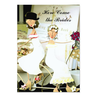 Deux faire-part de mariage de jeunes mariées avec