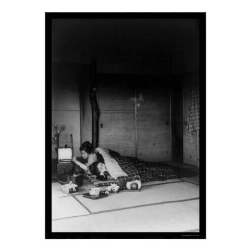 Deux femmes dans une chambre coucher japonaise 1 for Chambre a coucher japonaise