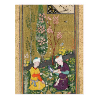 Deux figures lisant et détendant dans un verger cartes postales