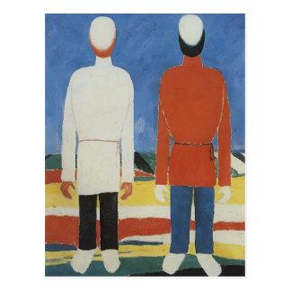 Deux figures masculines de Kazimir Malevich Carte Postale