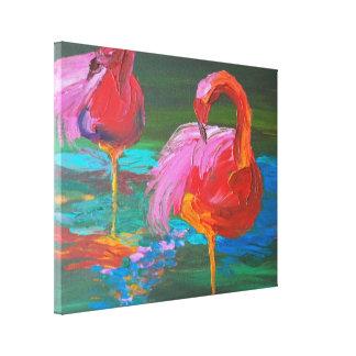 Deux flamants roses sur le lac vert (art de K.Turn Toiles