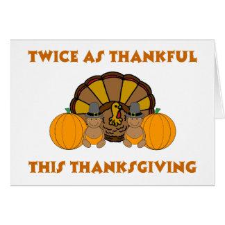 Deux fois aussi reconnaissant ce thanksgiving aa cartes