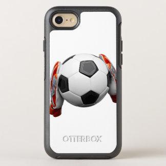 Deux gants de gardiens de but tenant un football coque OtterBox symmetry iPhone 8/7