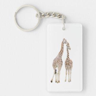 Deux girafes porte-clé rectangulaire en acrylique double face
