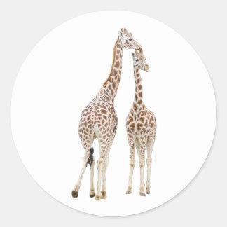 Deux girafes sticker rond