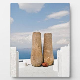 Deux grands pots sur l'île de Santorini Impressions Sur Plaque
