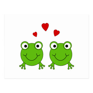 Deux grenouilles vertes avec les coeurs rouges carte postale