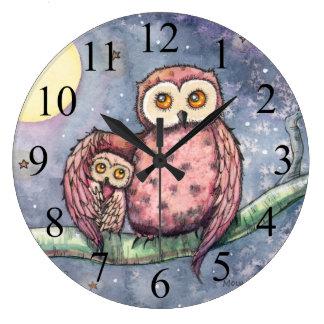 Deux hiboux et une lune badine l'horloge murale grande horloge ronde