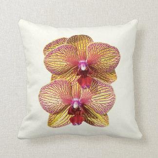 Deux jaunes et orchidées magenta coussin