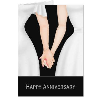 Deux jeunes mariées dans l'anniversaire de mariage cartes