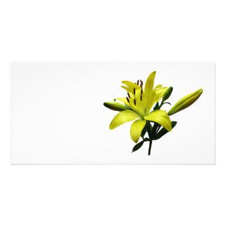Deux lis jaunes cartes de vœux avec photo