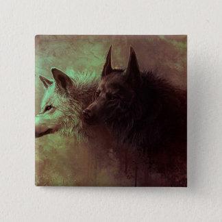 deux loups - loup de peinture badges