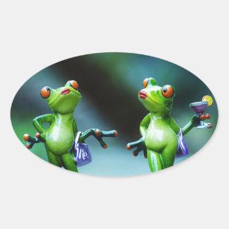 Deux Madame verte trop sexy Frogs Stickers Sticker Ovale