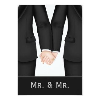 Deux mariés dans épouser de costumes carton d'invitation  12,7 cm x 17,78 cm