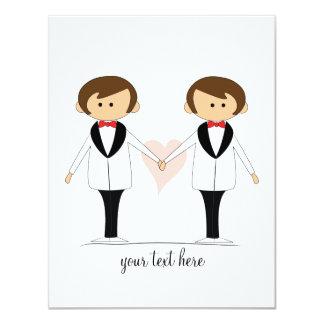 Deux mariés épousant des invitations carton d'invitation 10,79 cm x 13,97 cm