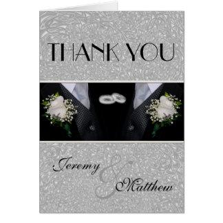Deux mariés épousant le Merci de Tuxes Carte De Correspondance