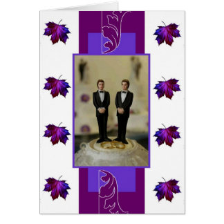 Deux mariés, thème pourpre carte de vœux