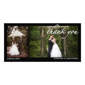 Deux Mercis Photocard de mariage de photo Photocarte Personnalisée