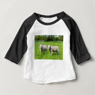 Deux moutons néerlandais blancs dans le pré vert t-shirt pour bébé
