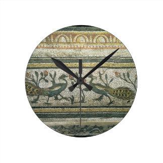 Deux paons, détail décoratif de frontière d'un mos horloge ronde