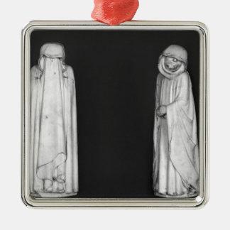 Deux personnes en deuil ornement carré argenté