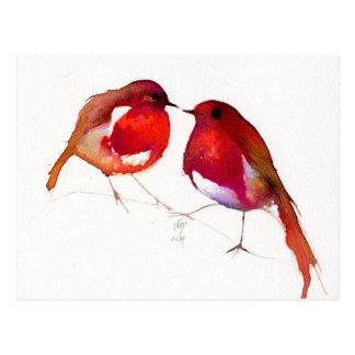 Deux peu d'oiseaux 2014 d'encre carte postale