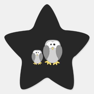 Deux pingouins mignons. Bande dessinée Autocollants En Étoile