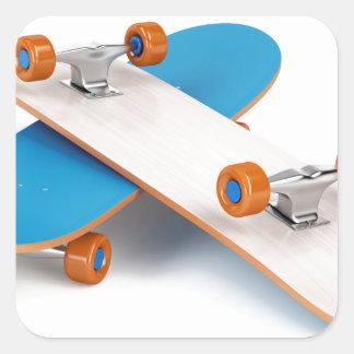 Deux planches à roulettes sticker carré