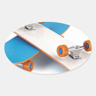 Deux planches à roulettes sticker ovale