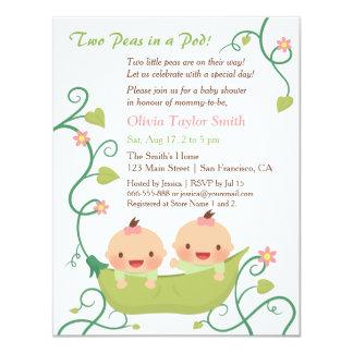 Deux pois dans un baby shower de filles de jumeau carton d'invitation 10,79 cm x 13,97 cm