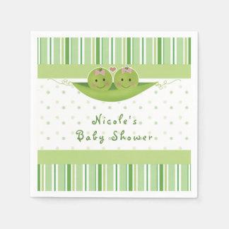 Deux pois dans un baby shower de filles de jumeau serviette en papier