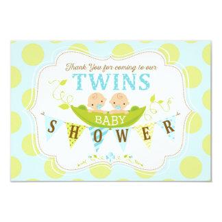 Deux pois dans un Merci de garçons de jumeau de Carton D'invitation 8,89 Cm X 12,70 Cm