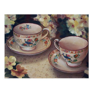 Deux pour la carte postale de thé