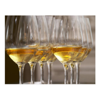 deux rangées des verres d'échantillon de vin avec carte postale