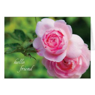 Deux roses roses, bonjour ami - carte de note