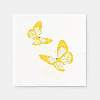 Deux serviettes de papier de papillons jaunes serviette en papier