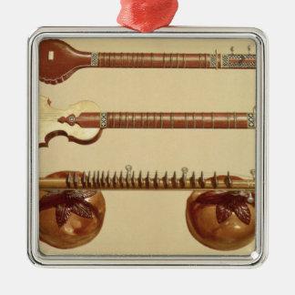Deux sitar et un vina de rudra, Indien, de Ornement Carré Argenté